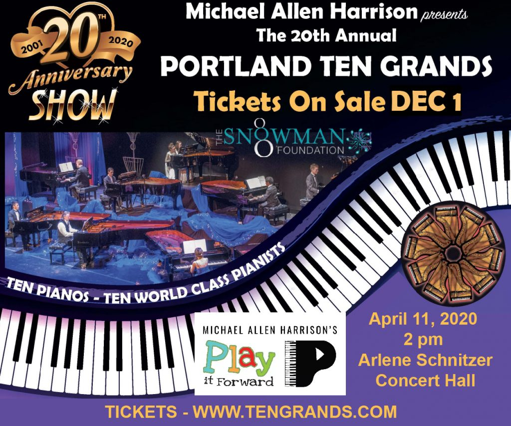 Michael Allen Harrison Ten Grands Play it Forward Piano Concert Portland Oregon Portland Events