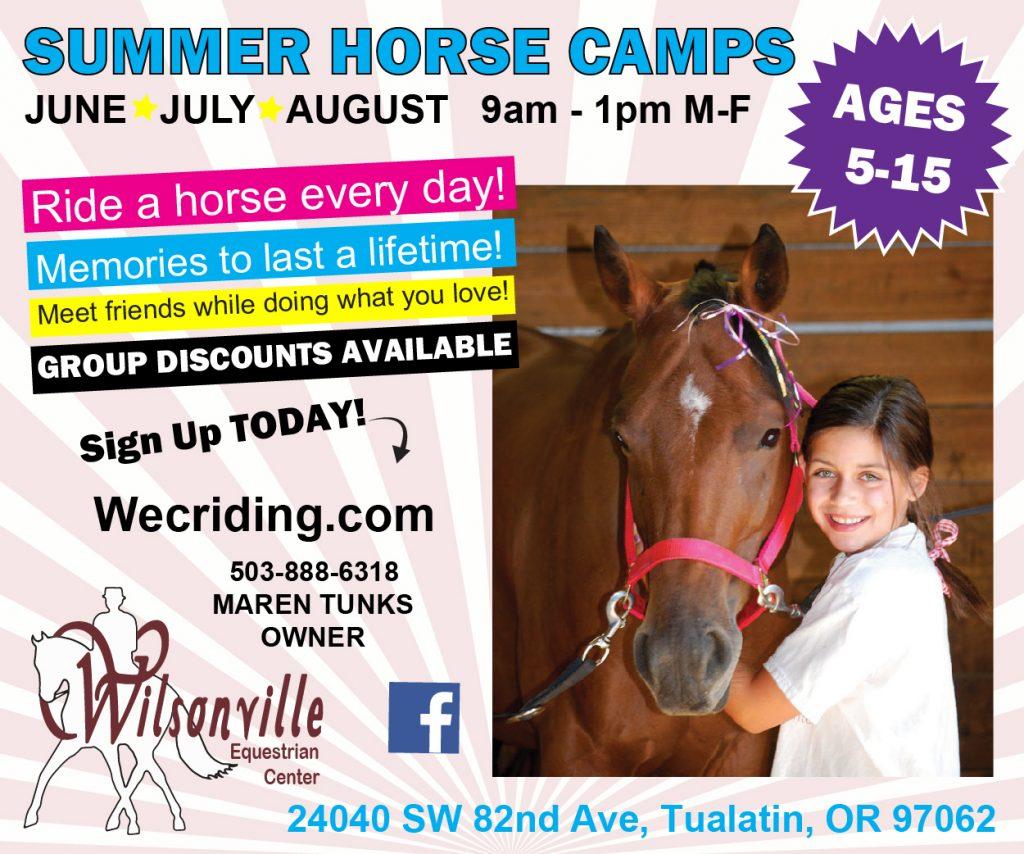 Wilsonville Equestrian Center Summer Camps 2021 Oregon